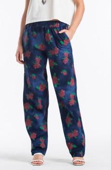 Çiçek Desenli Kadın Pantolon Lacivert