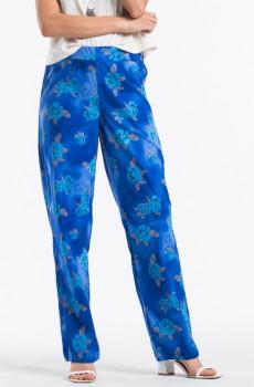 Çiçek Desenli Kadın Pantolon Saks