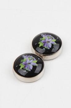 Çiçek Desenli Siyah, Eşarp Şal Mıknatısı