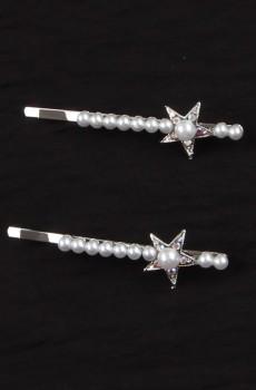 Gümüş Renk İnci Taşlı Yıldız Figürlü Tel Toka