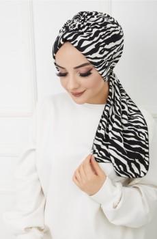 Zebra Desenli Büzgülü Boneli Şal