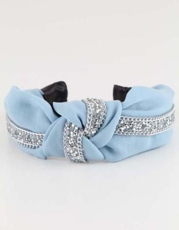 Bebe Mavisi Taşlı Düğümlü Pastel Taç