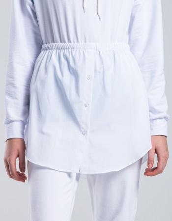 Beyaz Poplin Gömlek Etek