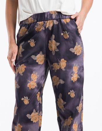 Çiçek Desenli Kadın Pantolon Kahve