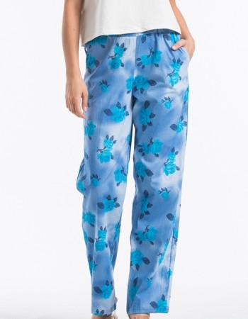 Çiçek Desenli Kadın Pantolon Mavi