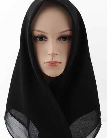 Siyah %100 Pamuklu İç Başörtüsü