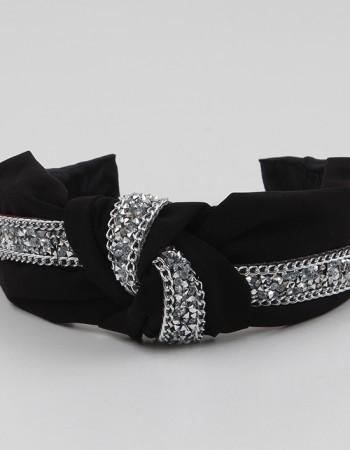 Siyah Taşlı Düğümlü Krep Taç