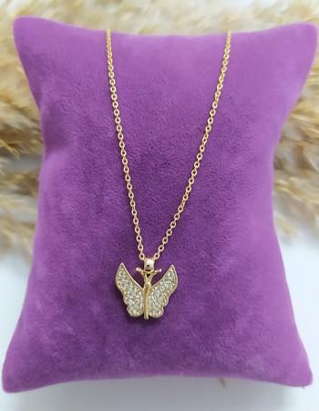 Zirkon Taşlı Kelebek Figürlü Kolye